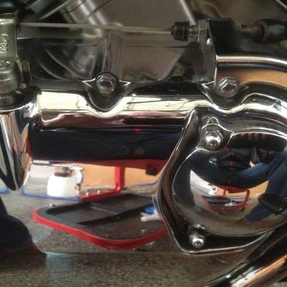 Resultado final después de pulir los cromados de esta Suzuki Intruder.