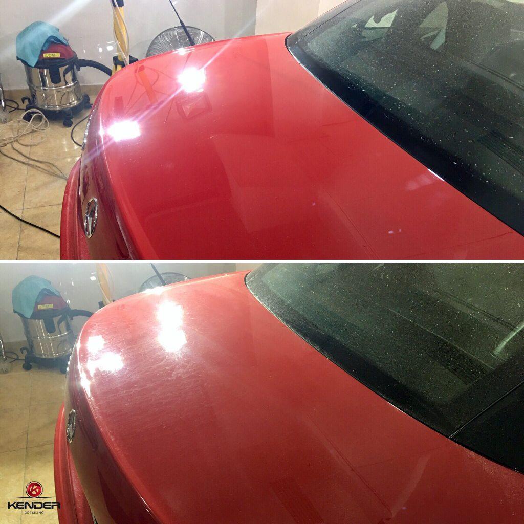 Antes y después de la zona del maletero de un Mercedes SLK